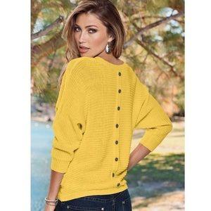 Venus Button Back Detail Sweater Yellow